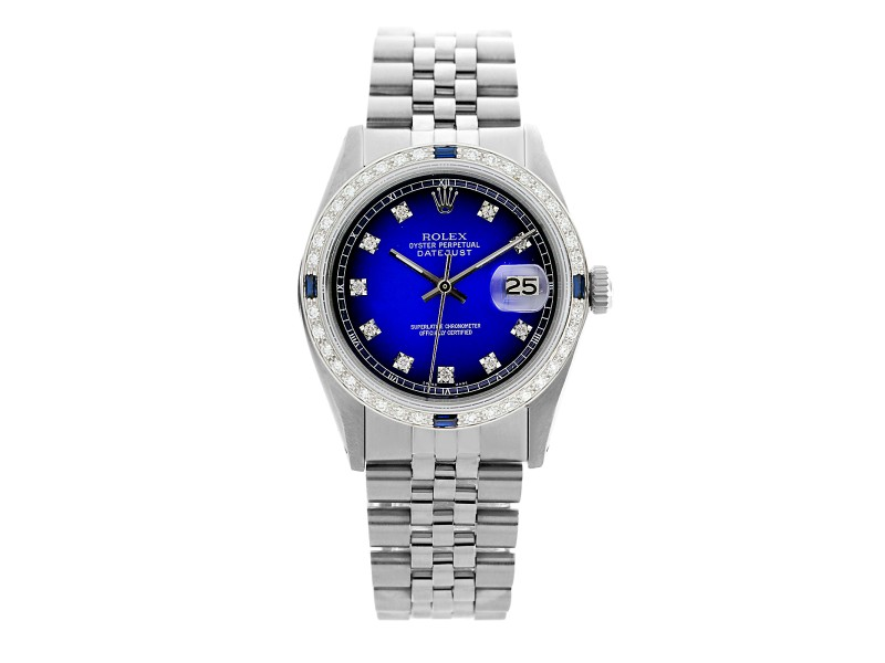 Rolex Datejust 1601 Stainless Steel Blue Vignette Dial 36mm Watch