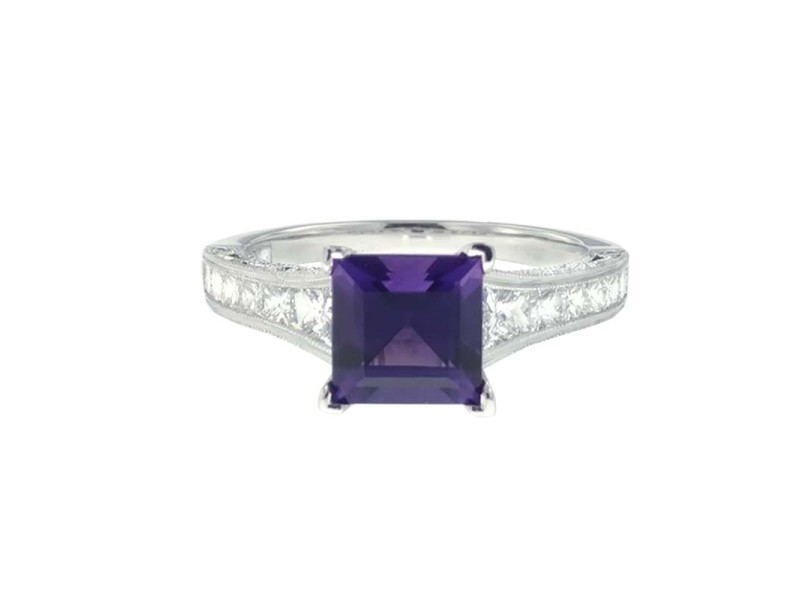 Tacori 18K White Gold Amethyst 1.00ctw Diamond Ring Size 6.75