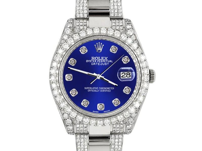 Rolex Datejust II 41mm Diamond Bezel/Lugs/Bracelet/Navy Blue Diamond Dial Steel Watch 116300