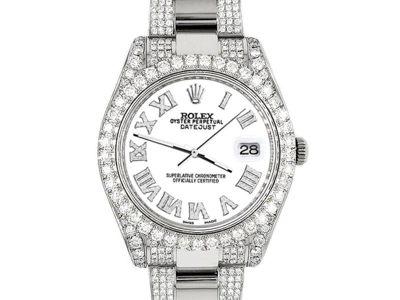 Rolex Datejust II 41mm Diamond Bezel/Lugs/Bracelet/White Roman Dial Steel Watch 116300