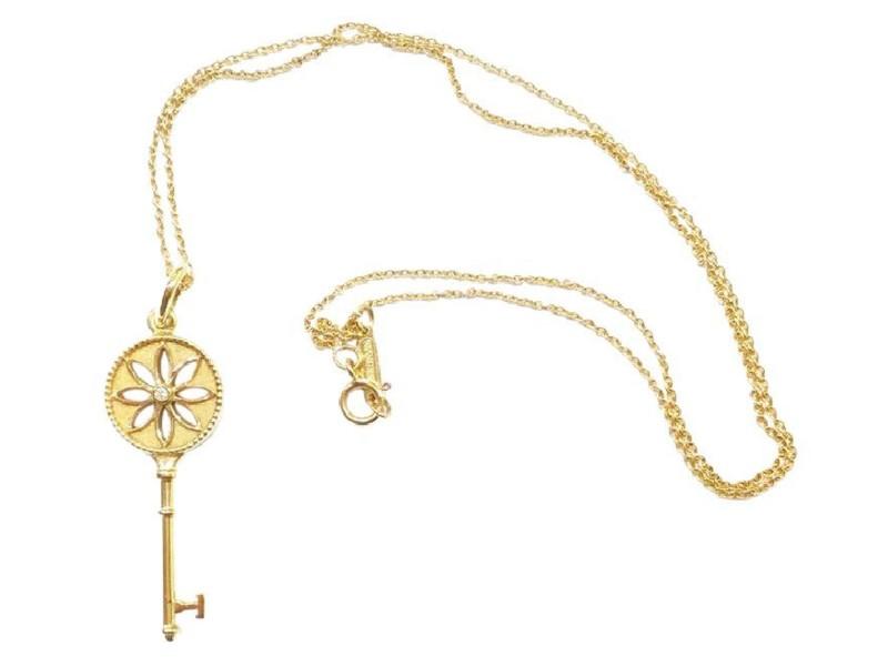 Tiffany & Co. 18K Yellow Gold Diamond Small Daisy Key Pendant ...