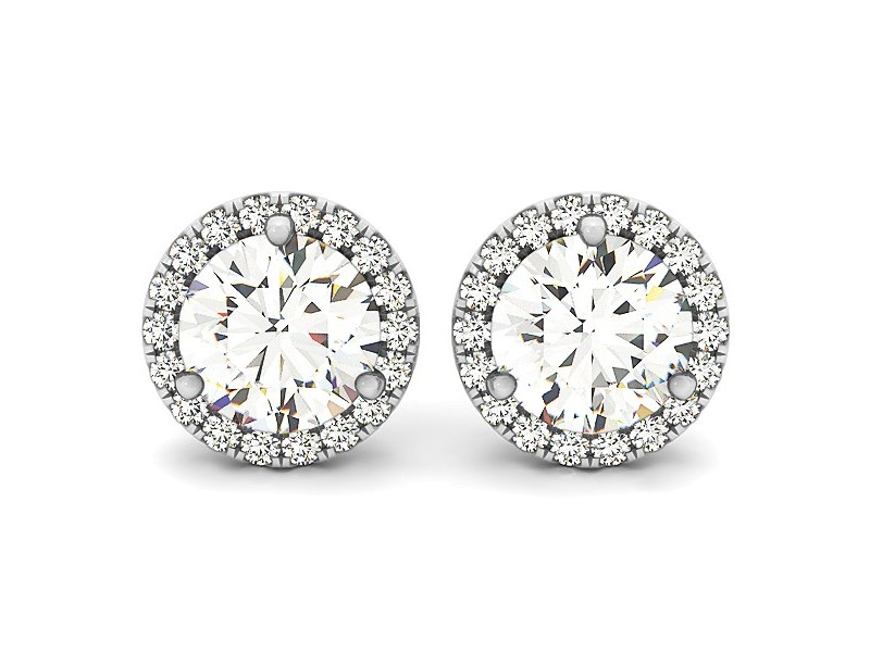 Triple Prong Round Halo Earrings in 14k White Gold (1 cttw)