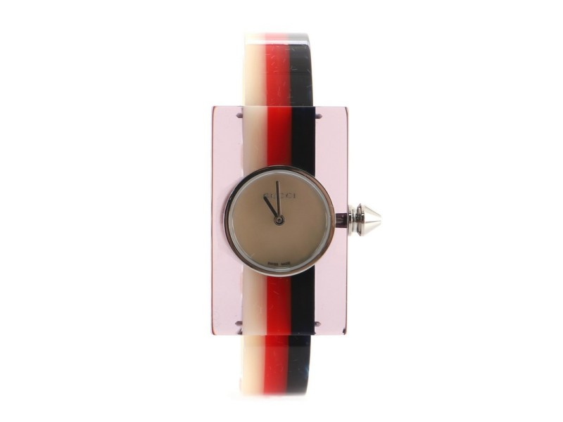 Gucci Vintage Web Rectangular Frame Quartz Watch Plexiglass with Stainless Steel and Mother of Pearl 24