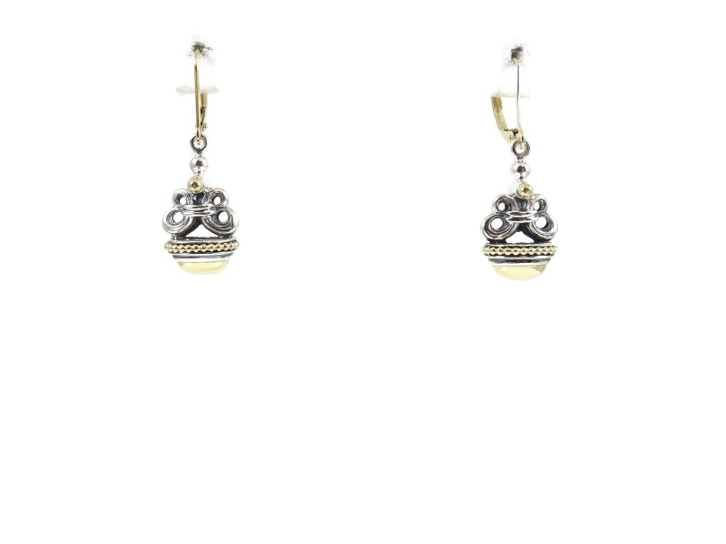 Lagos Caviar 18K Yellow Gold and Sterling Silver Dome Wheat Fob Drop Earrings