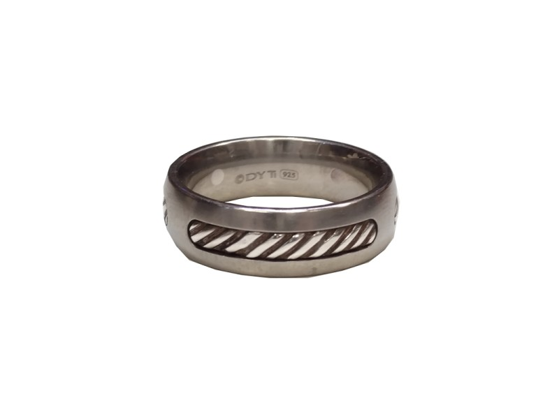 David Yurman Titanium and Sterling Silver Ring Size 11
