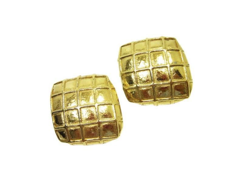 Chanel Gold Tone Metal Earrings