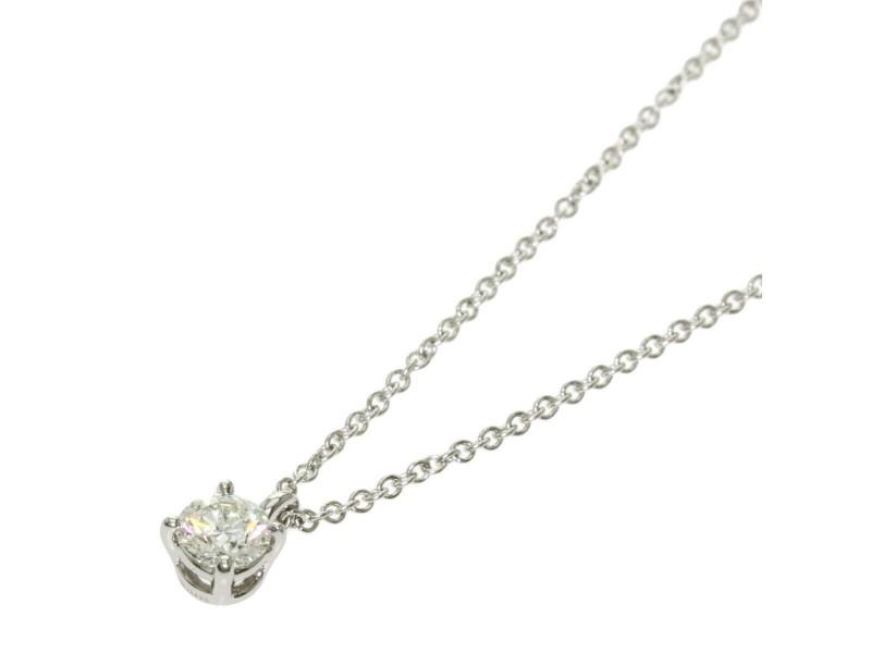 TIFFANY & Co. Platinum Diamond Solitaire stud Necklace