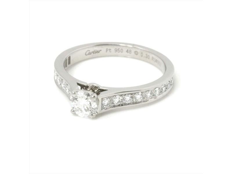 Cartier Platinum Diamond Ring RCB-114