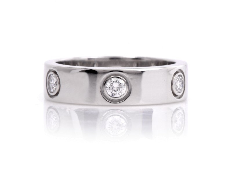 Cartier 18K White Gold 6 Diamond Love Band Ring Size 6