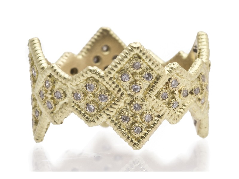 18k Yellow Gold Wide Cravelli Stack Band Ring With White Diamonds