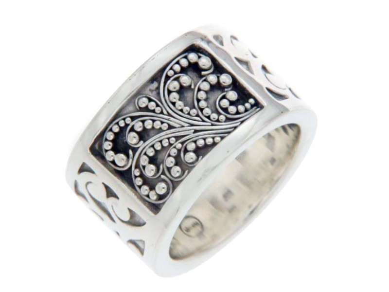 Lois Hill 925 Sterling Silver Scroll Cigar Band Ring Size 7