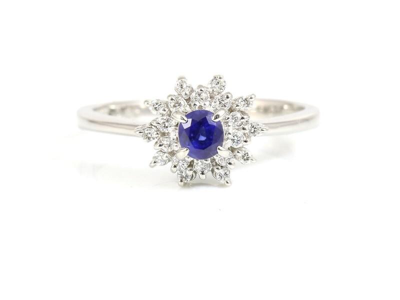 Unbranded Platinum 0.27ct Sapphire 0.10ct Diamond Ring CHAT-588