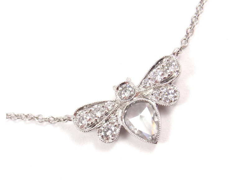Tiffany co enchant platinum 081ct diamond garden bee pendant enchant platinum 081ct diamond garden bee pendant necklace aloadofball