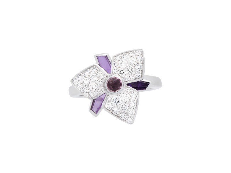 Cartier Carasse D'Orchidee Ring 18K White Gold Amehtyst 0.52ctw Diamond Size 4.5