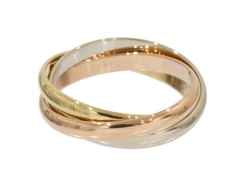 Cartier Trinity 18K Rose White Yellow Gold Bands Ring Size 6