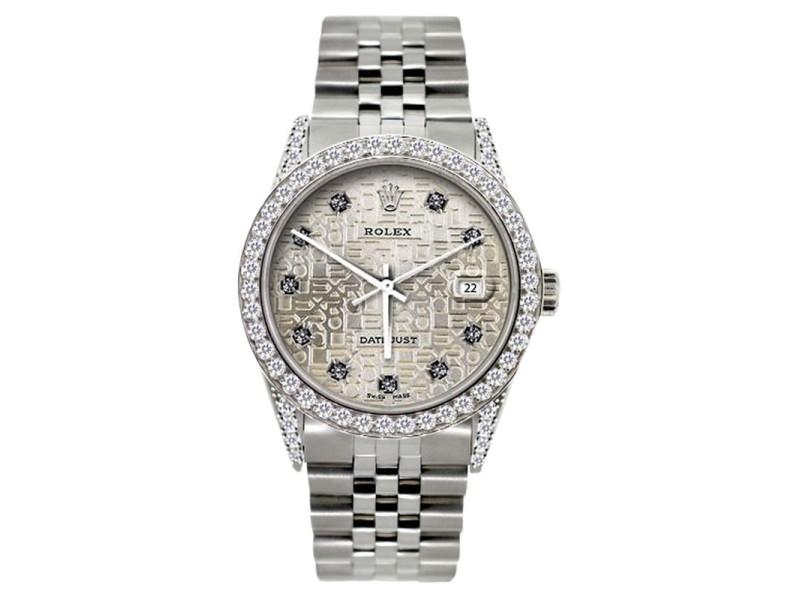 Rolex Datejust Diamond Stainless Steel Mens 36mm Watch