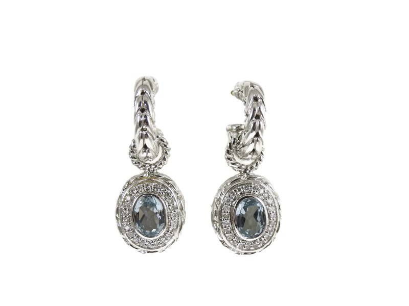 John Hardy Sterling Silver with 0.37ctw. Diamond and Aquamarine Batu Mata Charm Hoop Earrings