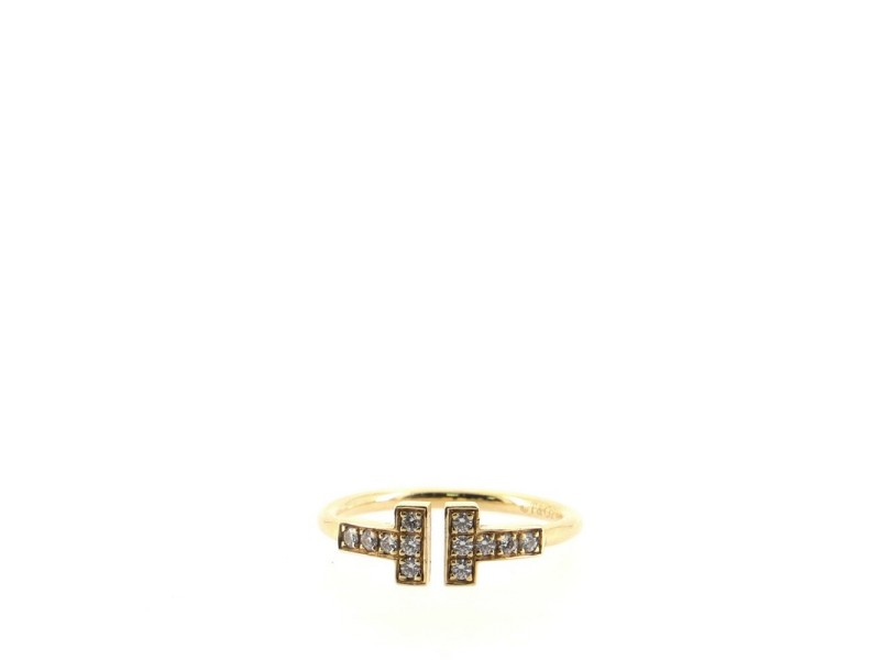 Tiffany & Co. T Wire Ring 18K Yellow Gold with Diamonds 5.5