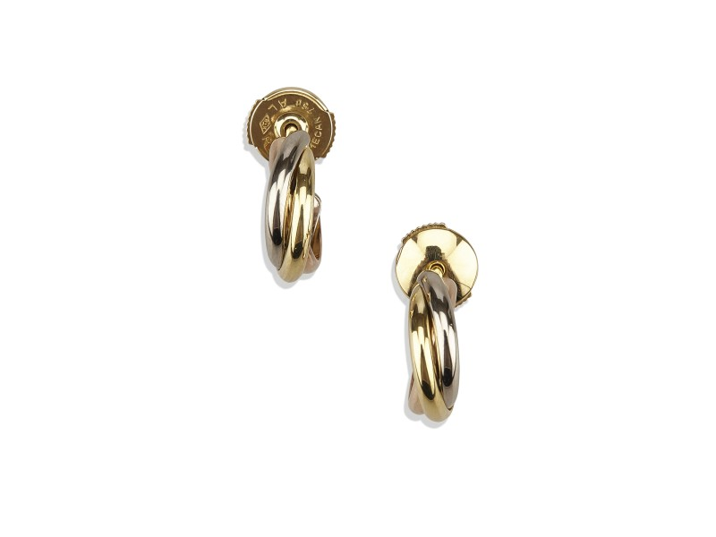 Cartier 18K White, Yellow and Rose Gold Trinity Earrings