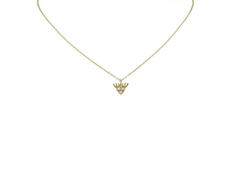 Dior 18K Yellow Gold with Diamond Heart Necklace