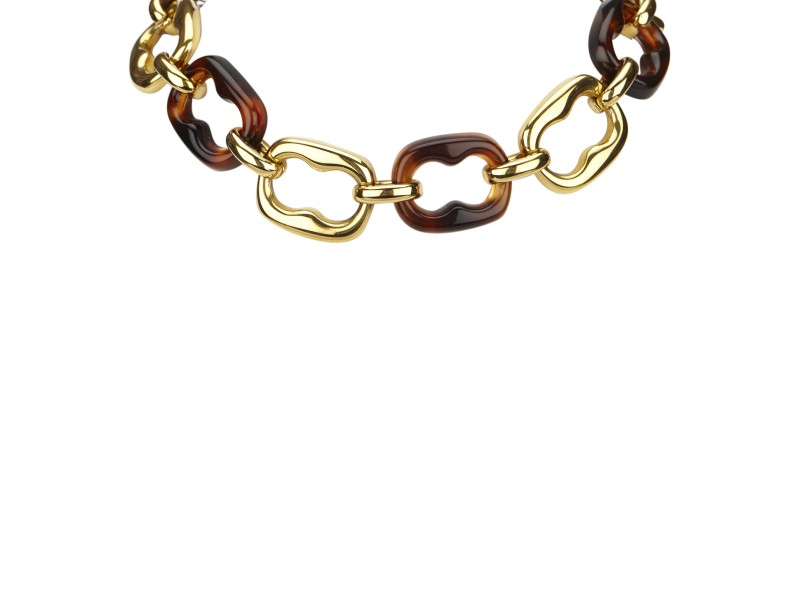 Gucci Gold Tone Hardware with Resin & Plastic Chain Necklace