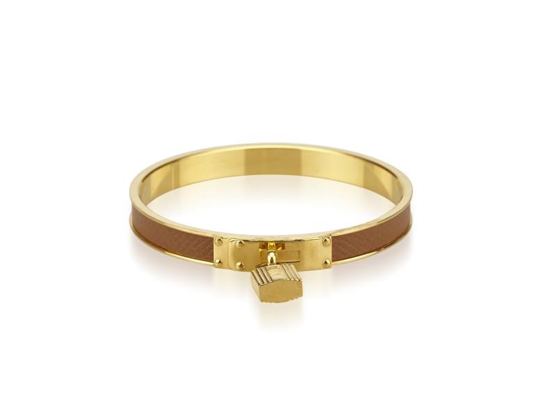 Hermes Kelly Gold Tone Hardware and Leather Lock Cadena Bracelet