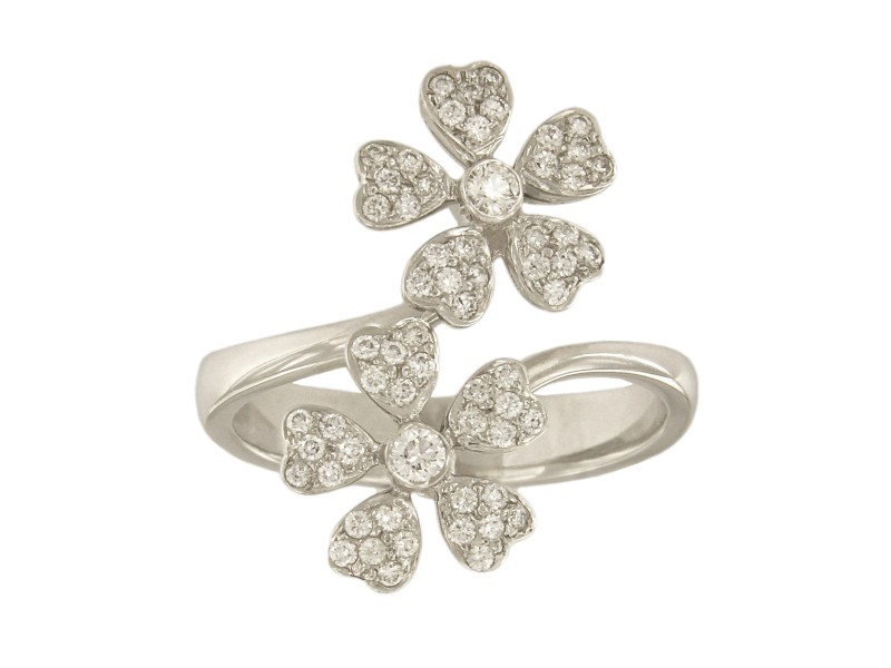 18K White Gold with 0.5ct. Diamond Double Flower Ring Size 7.25