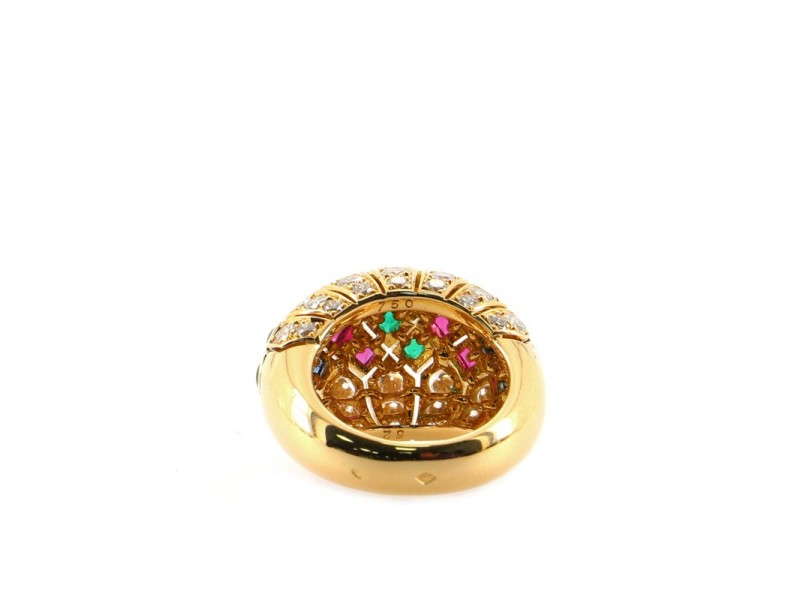 Cartier Bombe Ring 18K Yellow Gold with Diamonds, Rubies, Sapphires and Emeralds 6.25 - 53