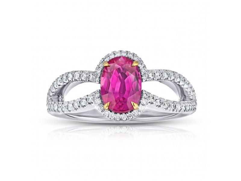 Platinum 1.54ct. Ruby 0.44ctw. Diamond Ring Size 7