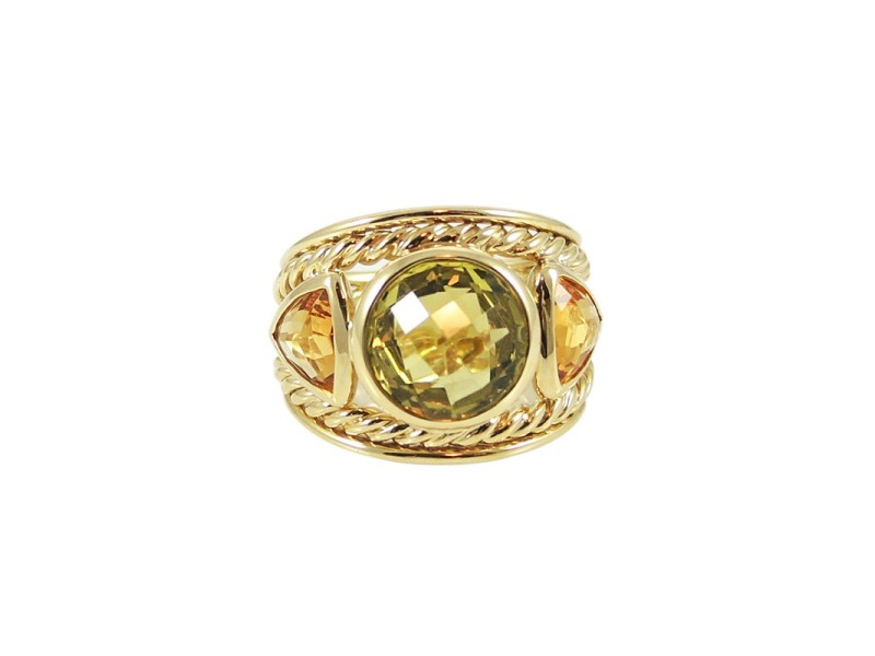 David Yurman 18K Yellow Gold Lemon Citrine Honey Citrine Cigar Band Renaissance Ring