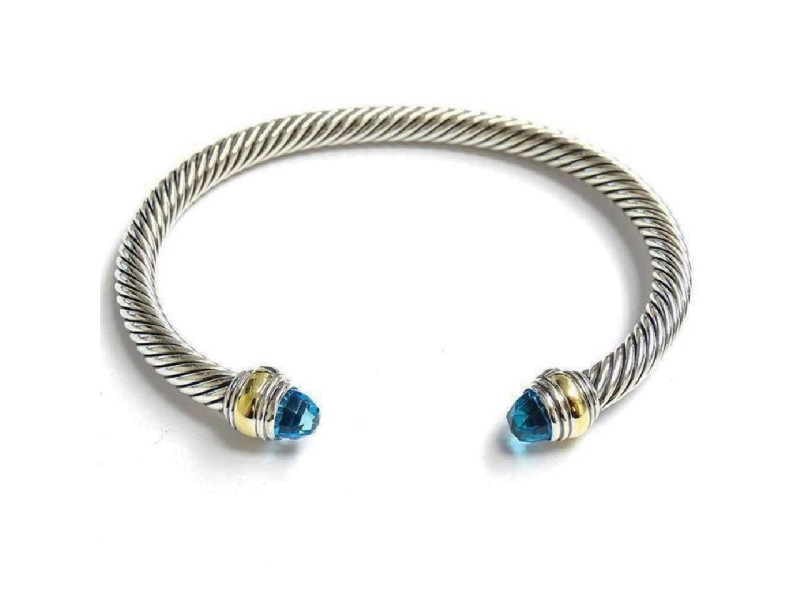 David Yurman Cable Classic Sterling Silver & 14K Yellow Gold With Blue Topaz Bracelet