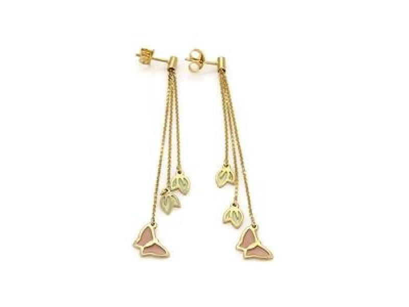 Enamel Butterfly & Leaf Long Triple Chain Dangle Earrings in 14k Yellow Gold