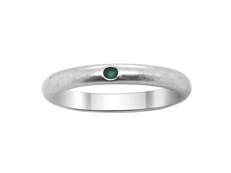 Tiffany & Co. Elsa Perettin Stackable Silver Emerald Ring Size 6