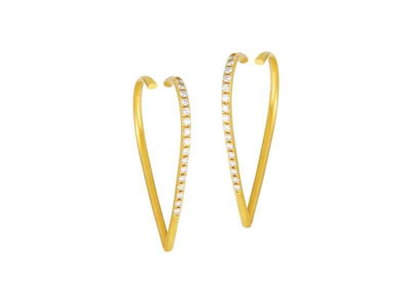 Diamond Laced 18K Yellow Gold Heart Shaped Hoop Earrings