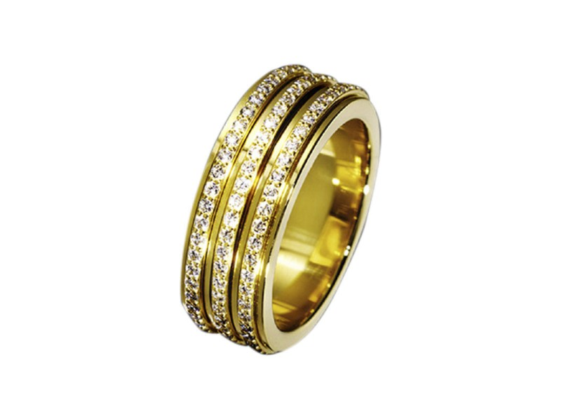 Piaget G34PO5 18K Yellow Gold Diamonds Band Ring Size 6.75