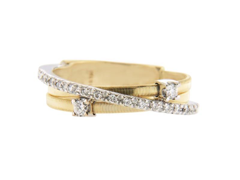 Marco Bicego 18K Yellow Gold and 18K White Gold Diamond Wedding Band Ring Size 7