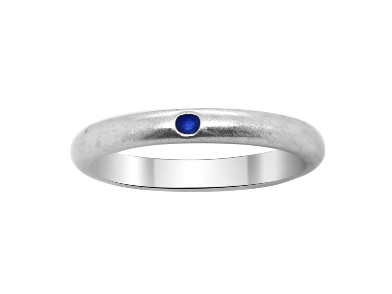 Tiffany & Co. Elsa Peretti Stackable Silver Blue Sapphire Ring Size 6
