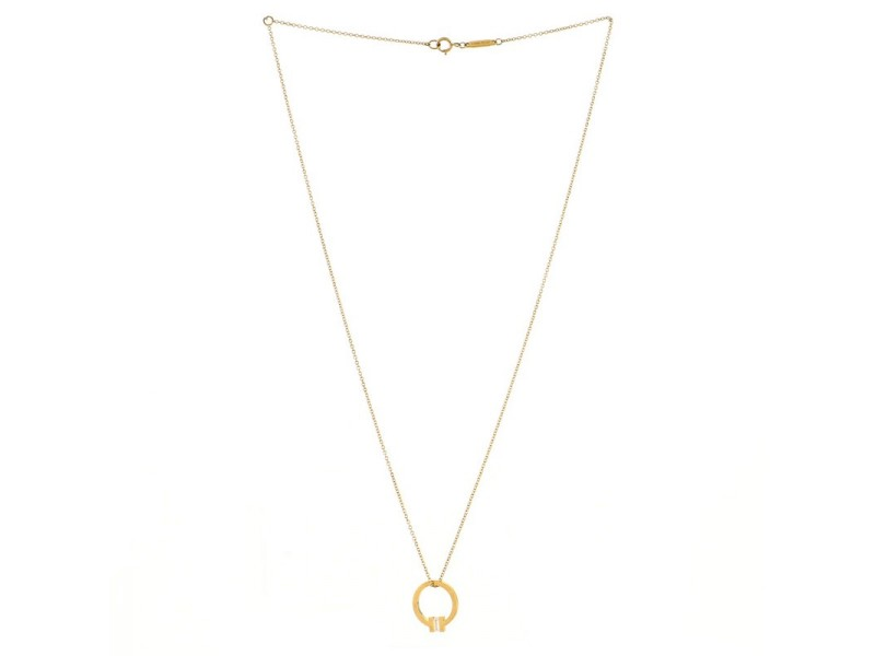 Tiffany & Co. T Circle Pendant Necklace 18K Yellow Gold with Diamond