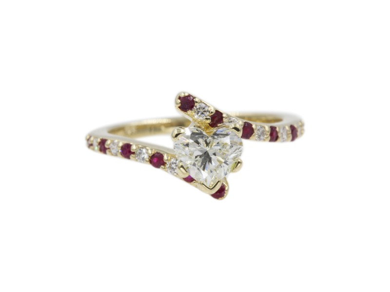 14K Yellow Gold with 0.50ct Heart Shaped Diamond and Ruby Delicate Engagement Ring Size 6