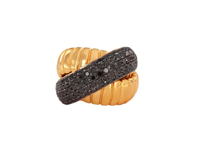 18k Rose Gold Large Ring with Black Diamond