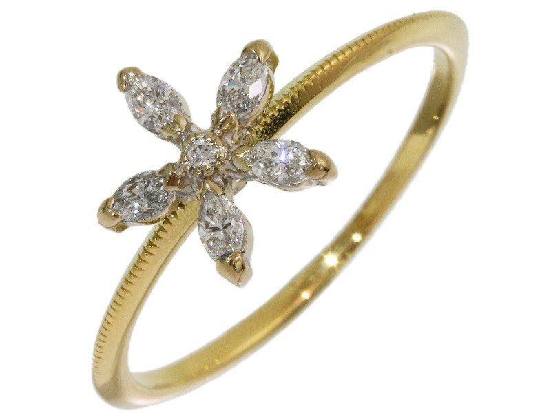 AHKAH 0.15ct Diamonds Flower Design Ring in 18K Yellow Gold US5.5