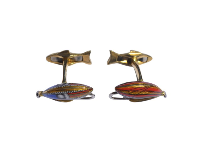 Deakin & Francis 18K Yellow Gold and White Gold with Enamel Fly Fish Cufflinks