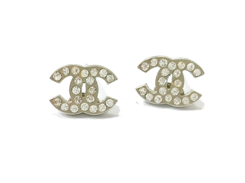 Chanel CC Small Rhinestone Piercing Earrings