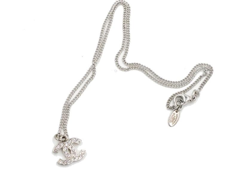Chanel Classic Silver CC Rhinestone Necklace