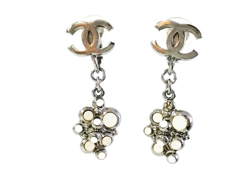 Chanel Silver Tone and White Opal CC Dangle Clip on Earrings