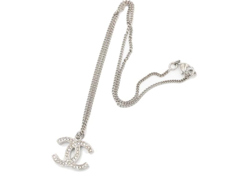 Chanel Silver CC Rhinestone Small Pendant Necklace
