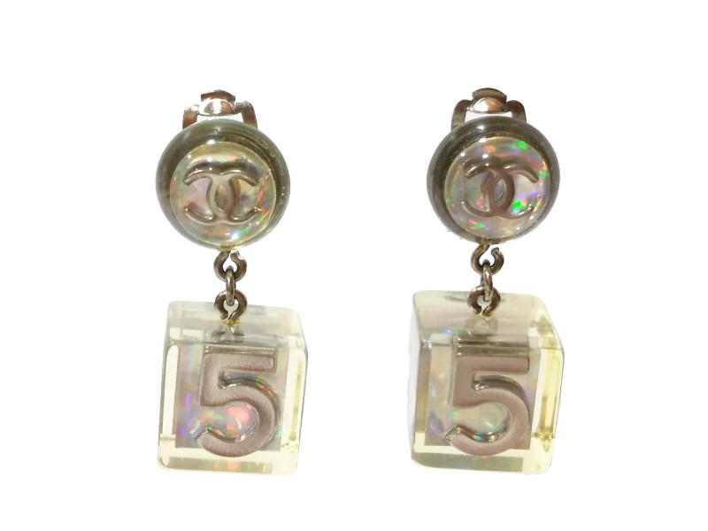 Chanel CC Iridescent Ivory Dice Clip On Earrings