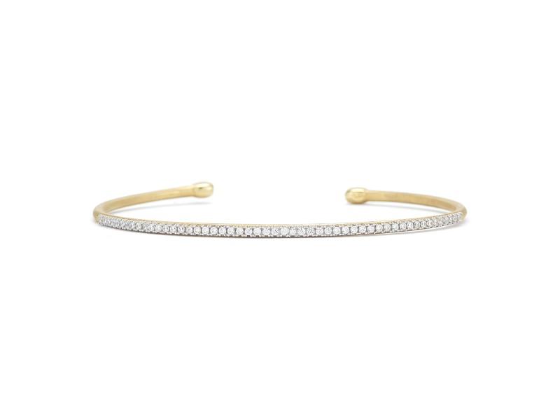 Yellow Gold Brushed-satin Finished Tube Bangle Bracelet