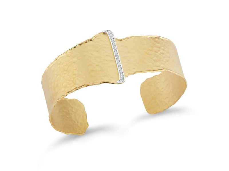 I.Reiss Matte And Hammer-Finished Open Cuff Bracelet