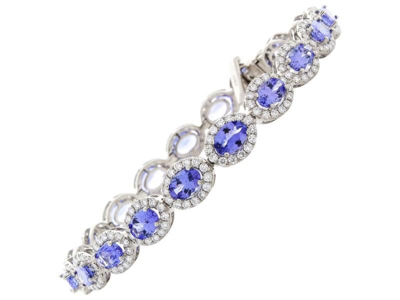 12.50 Carat Total Oval Tanzanite and Diamond Bracelet in 18 Karat White Gold